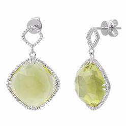 14KT White Gold 24.19ctw Quartz and Diamond Earrings
