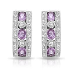 14KT White Gold 1.65ctw Pink Sapphire and Diamond Earrings