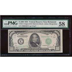 1934 $1000 Richmond Federal Reserve Note PMG 58