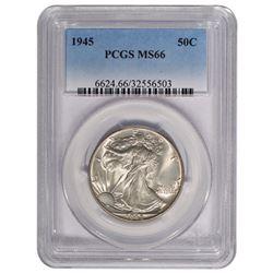 1945 Walking Liberty Half Dollar Coin PCGS MS66