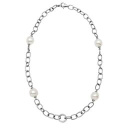 18KT White Gold 35.10ctw Pearl and Diamond Necklace