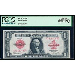 1923 $1 Legal Tender Note PCGS 65PPQ