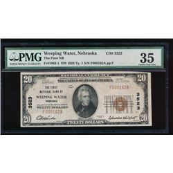 1929 $20 Weeping Water National Bank Note PMG 35