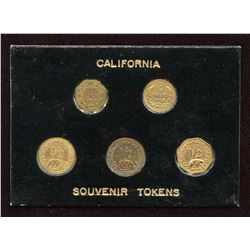 Lot of 5 Replica California Gold Tokens