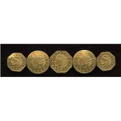 Lot of 5 Replica California Gold Tokens - Mounted