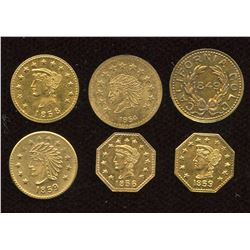 Lot of 6 Replica California Gold Tokens