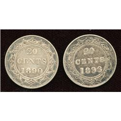 1890 & 1896 Newfoundland Twenty Cents