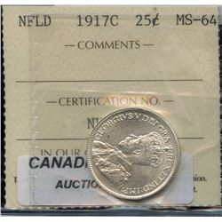 1917c Newfoundland Twenty Five Cents