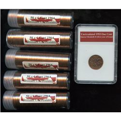 5 Mint Rolls 1964 Cents