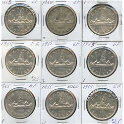 1955 Silver Dollars - Lot of 9