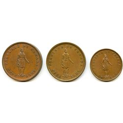 Lot of Three Quebec Bank Tokens.