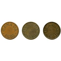 Lot of Three Lower Canada Tokens.