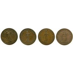 Lot of Four Upper Canada Lesslie Half Penny Tokens.