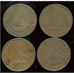 Lot of Four Upper Canada Sloop Half Penny Tokens.