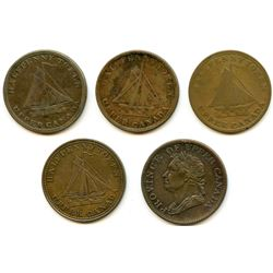 Lot of Five Upper Canada Half Penny Tokens.