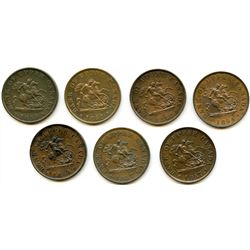 Lot of Seven Bank of Upper Canada Half Penny Tokens.