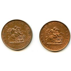 Lot of Two Bank of Upper Canada Half Penny Tokens.
