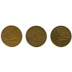 Lot of Three Speed the Plough Halh Penny Tokens.