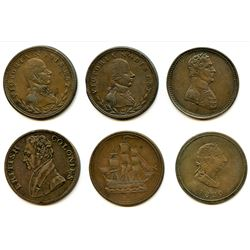Lot of Six Lower Canada Half Penny Tokens.