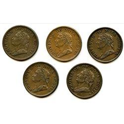 Lot of Five Nova Scotia Half Penny Tokens.