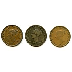 Lot of Three Nova Scotia Half Penny Tokens.