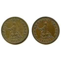 Lot of Two 1815 Commercial Change Half Penny Tokens.