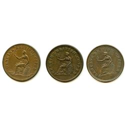 Lot of Three 1815 Genuine British Copper Half Penny Tokens.