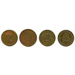 Lot of Four Nova Scotia Half Penny Tokens.