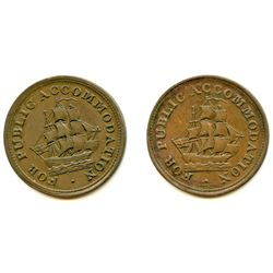 Lot of Two New Brunswick Half Penny Tokens.
