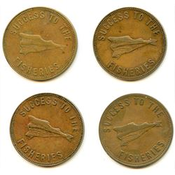 Lot of Four PEI Half Penny Tokens.