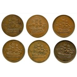 Lot of Six Ships Colonies & Commerce Half Penny Tokens.