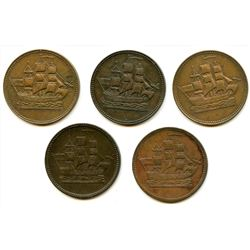 Lot of Five Ships Colonies & Commerce Half Penny Tokens.