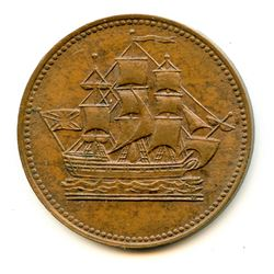 Lot of Two Ships Colonies & Commerce Half Penny Tokens.