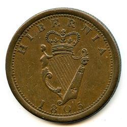 Br 975, CH-AM-2. 1805 Hibernia One Penny.
