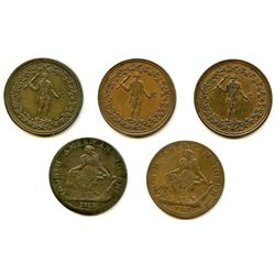 Lot of Five Anonymous Half Penny Tokens.