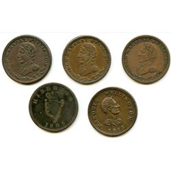 Lot of Five Wellington Half Penny Tokens.