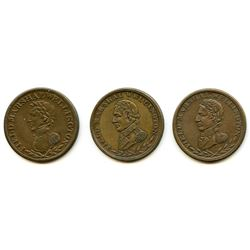 Lot of Three Wellington Half Penny Tokens.