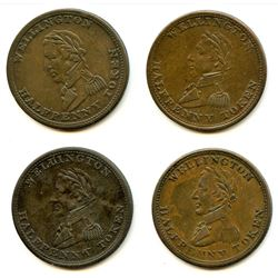 Lot of Four Wellington 1814 Half Penny Tokens.