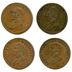 Lot of Four Wellington 1816 Half Penny Tokens.