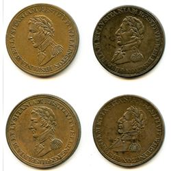 Lot of Four Wellington Peninsular Half Penny Tokens.