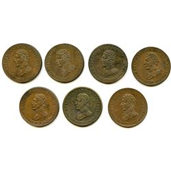 Lot of Seven Wellington Peninsular Half Penny Tokens.