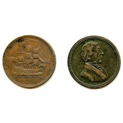 Lot of Two Wellington 1815 Half Penny Tokens.