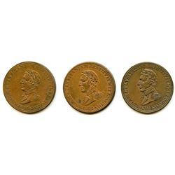 Lot of Three Wellington Peninsular Half Penny Tokens.