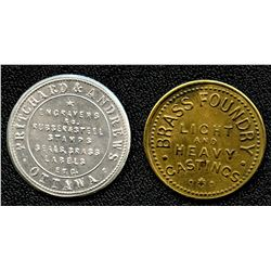 Lot of Two Pritchard & Andrews Tokens.