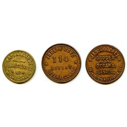 Lot of Three Ottawa Tokens.