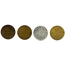 Lot of Four Ottawa Tokens.