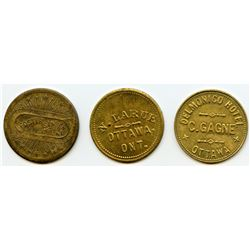 Lot of Three Ontario Tokens.