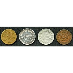 Lot of Four Ontario Tokens.