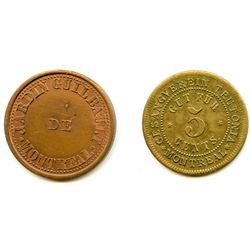Lot of 2 Post-Confederation Quebec Tokens.