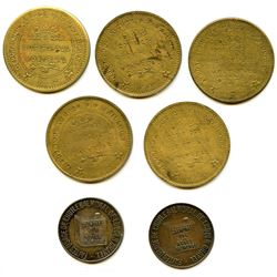 Lot of Seven Post-Confederation Quebec Tokens.
